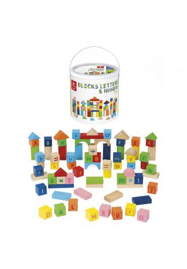 Set constructie educativ 75 piese lemn - Cuburi