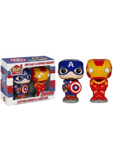 Set 2 Figurine Funko Pop Homeware! Captain America & Iron Man - Salt & Pepper Shakers