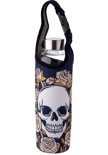 Sticla pentru apa cu husa - Skulls & Roses