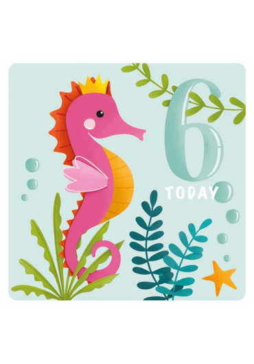 Felicitare - Happy Birthday Seahorse - 6 Years Today