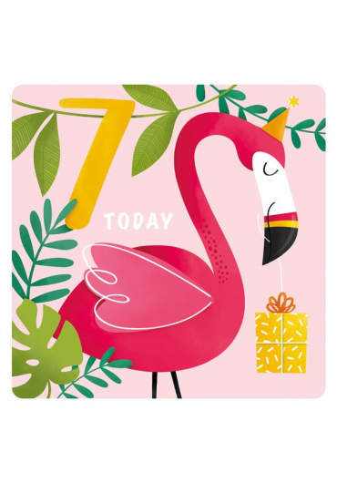 Felicitare - Happy Birthday Today - Flamingo - 7 Years
