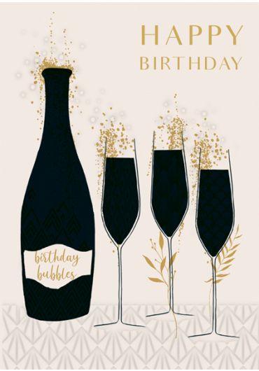 Felicitare - Happy Birthday - Champagne
