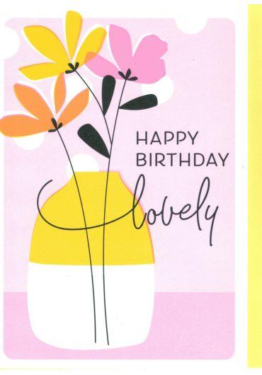 Felicitare - Happy Birthday Lovely - Vase of flowers