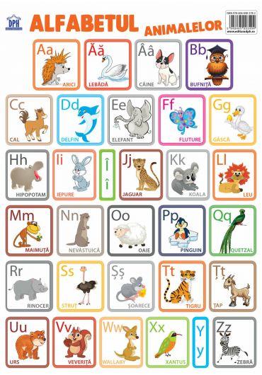Plansa - Alfabetul animalelor in limba romana
