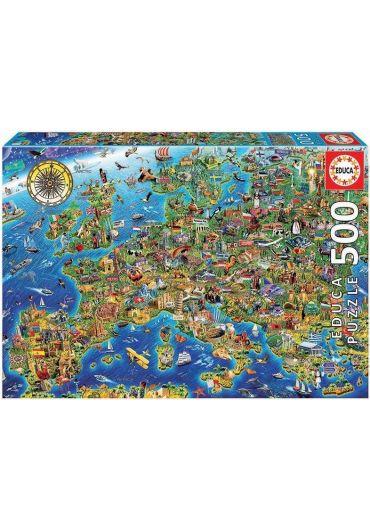 Puzzle 500 piese Crazy European Map