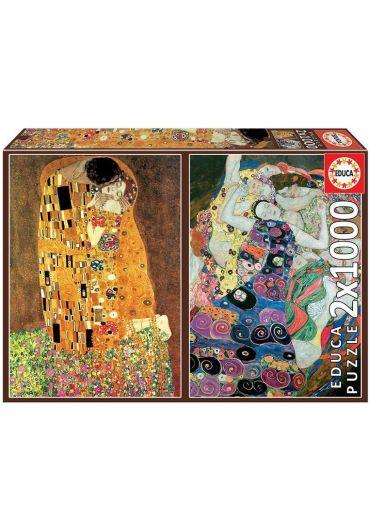 Puzzle 2x1000 piese The Kiss The Maiden, Gustav Klimt