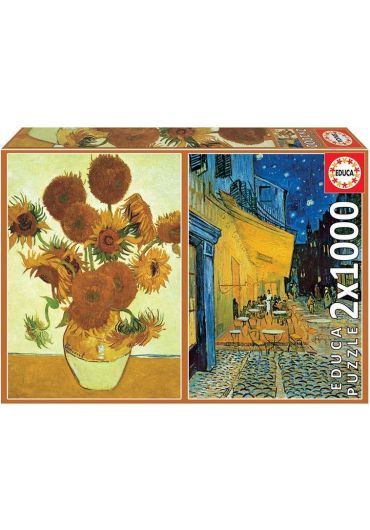 Puzzle 2x1000 piese Sunflowers Cafe Terrace at Night, Vincent Van Gogh