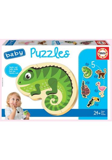 Puzzle 5 in 1 (5+3+3+4+4 piese) Baby Tropical Animals