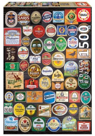 Puzzle 1500 piese Beer Labels Collage