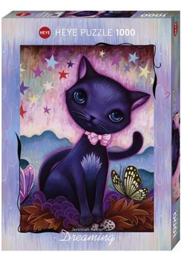 Puzzle 1000 piese Dreaming Black Kitty