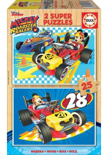 Puzzle 2 in 1 (25+25 piese) Mickey & the Roadster Racer