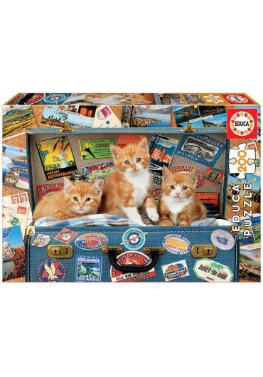 Puzzle 200 piese Travelling Kittens