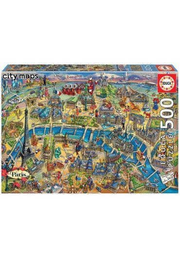 Puzzle 500 piese Paris Map