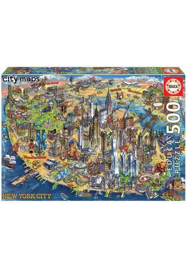 Puzzle 500 piese New York City Map