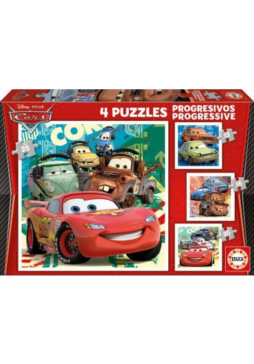 Puzzle 4 in 1 (12+16+20+25 piese) Cars 2
