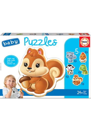 Puzzle 5 in 1 (3+3+5+4+4 piese) Baby Animals