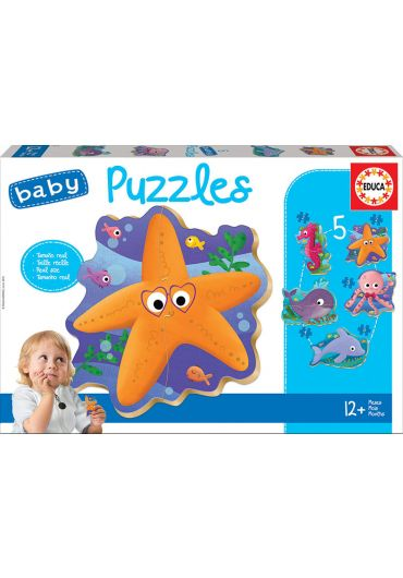 Puzzle 5 in 1 (2+3+3+4+2 piese) Baby Sea Animals