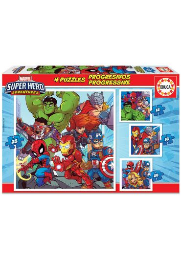 Puzzle Progressive 4 in 1 (12+16+20+25 piese) Super Hero Adventures