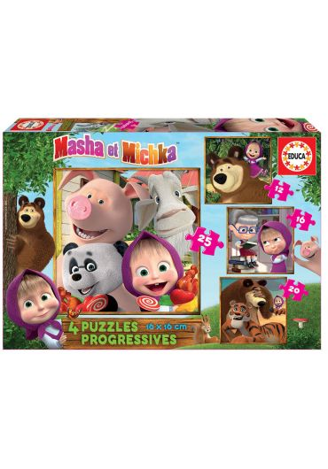 Puzzle Progressive 4 in 1 (12+16+20+25 piese) Masha and The Bear