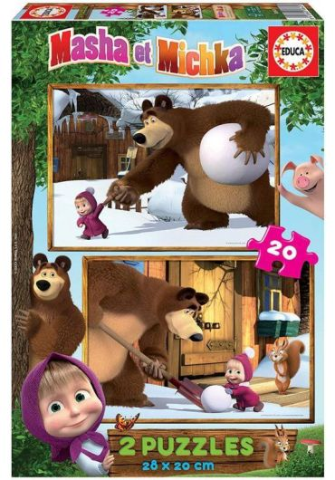 Puzzle 2 in 1 (20+20 piese) Masha and The Bear