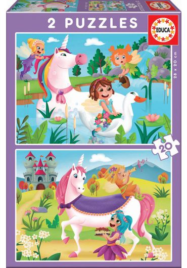 Puzzle 2 in 1 (20+20 piese) Unicorns and Fairies