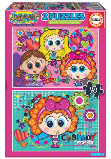 Puzzle 2 in 1 (48+48 piese) Distroller - Chamoy & Amiguis