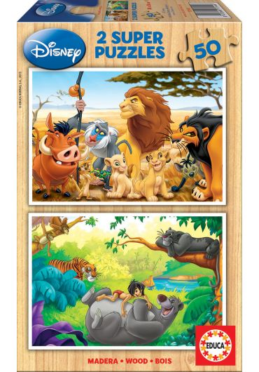Puzzle 2 in 1 (50+50 piese) The Lion King & The Jungle Book