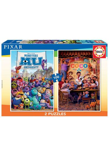 Puzzle 2 in 1 (100+100 piese) Monsters University & Coco