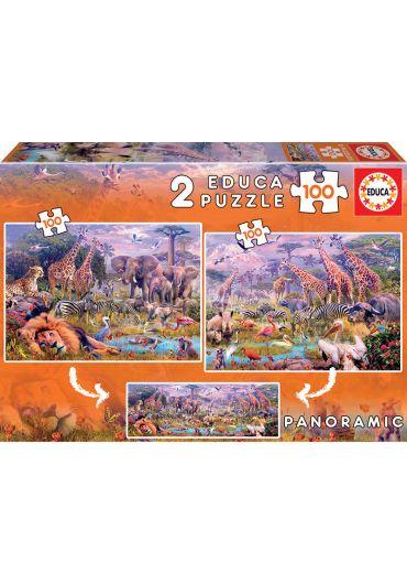 Puzzle Panoramic 2 in 1 (100+100 piese) Wild Animals