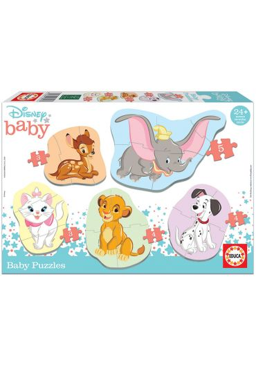 Puzzle 2 in 1  (3+5+4+4+3 piese) Baby Disney Animals