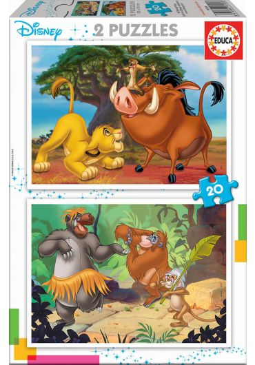 Puzzle 2 in 1  (20+20 piese) The Lion King & The Jungle Book