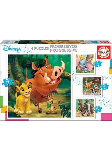 Puzzle Progressive 4 in 1 (12+16+20+25 piese) Disney Animals