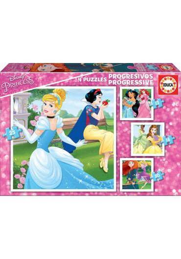 Puzzle Progressive 4 in 1 (12+16+20+25 piese) Disney Princess