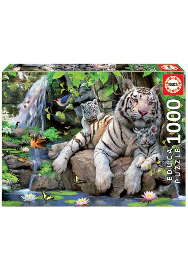 Puzzle 1000 piese White Tigers of Bengal