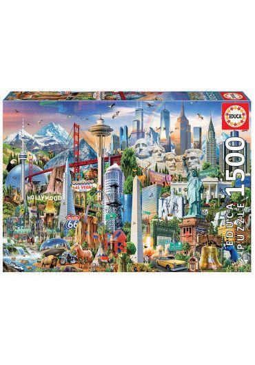 Puzzle 1500 piese North America Landmarks