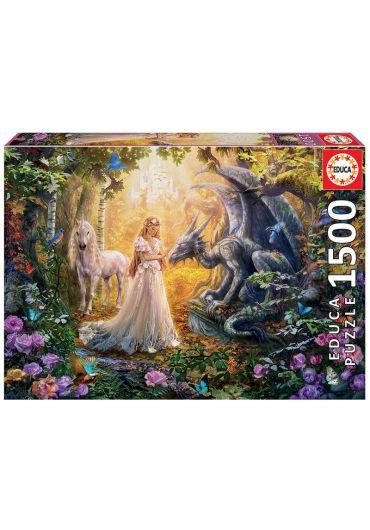 Puzzle 1500 piese Dragon, Princess and Unicorn