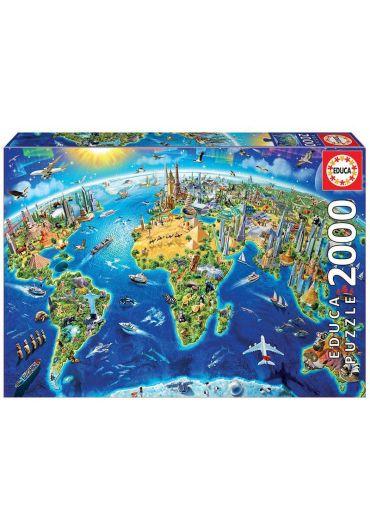 Puzzle 2000 piese World Landmarks Globe