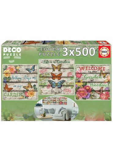 Puzzle 3 in 1 (500+500+500 piese) Deco Country Garden