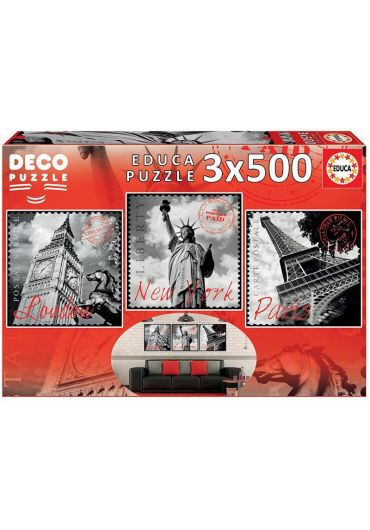 Puzzle 3 in 1 (500+500+500 piese) Deco Big Cities