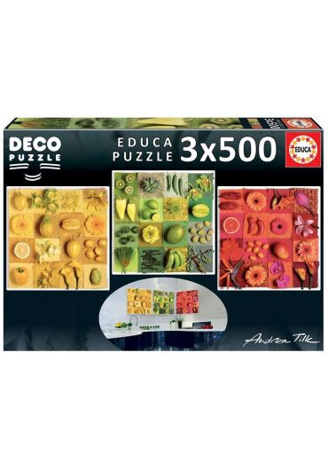 Puzzle 3 in 1 (500+500+500 piese) Deco Exotic Fruits and Flowers, Andrea Tilk