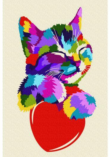 Set Picturi pe numere, Acuarello, 20X30 cm - Sweet Kitty