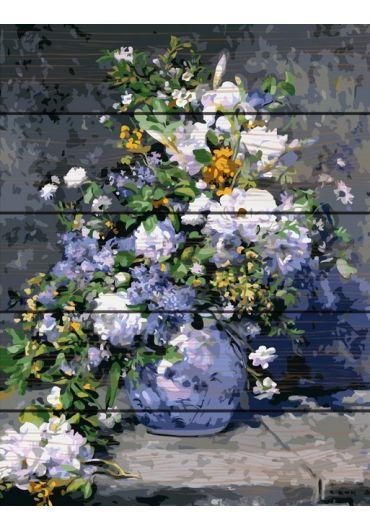 Set Picturi pe numere lemn, Acuarello, 40X50 cm - Blue Flowers