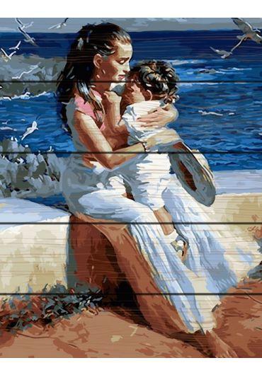 Set Picturi pe numere lemn, Acuarello, 40X50 cm - Mother & Child
