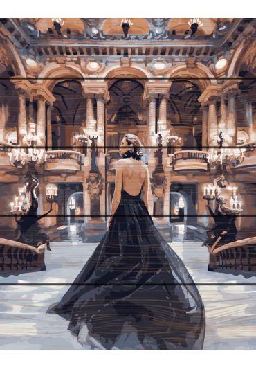 Set Picturi pe numere lemn, Acuarello, 40X50 cm - Black Dress