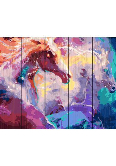 Set Picturi pe numere lemn, Acuarello, 40X50 cm - Magic Horses