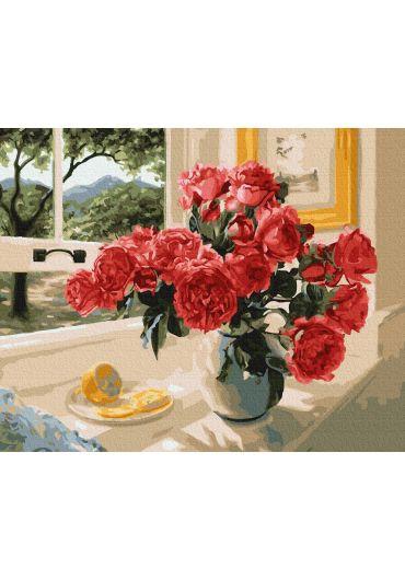 Set Picturi pe numere, Acuarello, 40X50 cm - Red Peonies