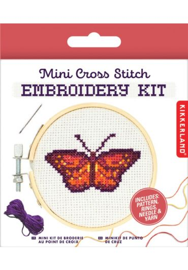 Set de brodat - Mini Cross Stitch Embroidery kit Butterfly