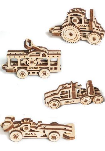 Puzzle 3D lemn - U-Fidget Masini