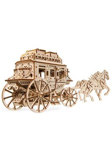 Puzzle 3D lemn - Trasura cu cai