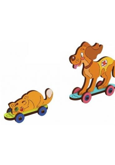 Puzzle 3D lemn - Kitty and Puppy